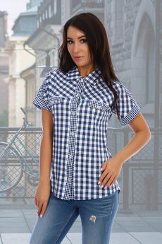 Женская рубашка в синюю клетку Натали