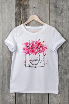 Белая футболка белая с цветами Милана