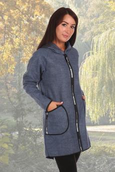 Синее пальто из эко-кашемира Натали со скидкой